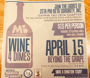 Join us Sunday for Wine for Dimes